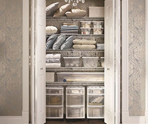 Optimize your linen closet space with The Closet Factory to make your items more accessible.