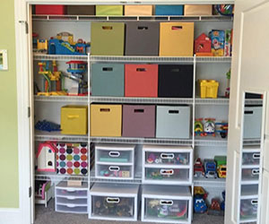 Help keep your garage organized with custom shelves from The Closet Factory.